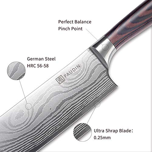 Cleaver Knife - PAUDIN 7 inch Chinese Vegetable Cleaver Kitchen Knife N6 German High Carbon Stainless Steel Meat Cleaver Knife by PAUDIN (Image #3)
