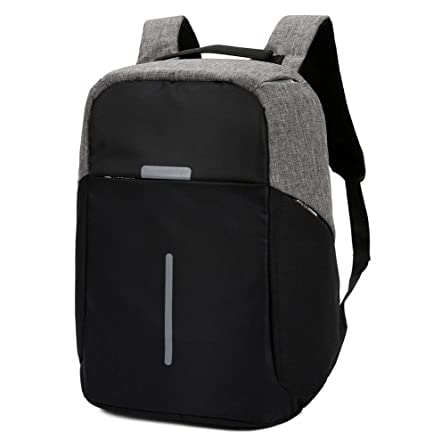 9aad104122f5 Image Unavailable. Image not available for. Color  Black Gray Anti-Theft  Waterproof Backpack External USB Charge Port 15 quot  Laptop School Bag
