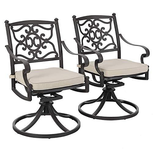 (PHI VILLA Cast Aluminum Retro Outdoor Patio Swivel Dining Chairs Set of 2 fits Garden,Backyard Rocker Chair Furniture)