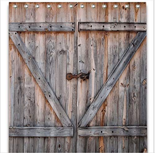 Country Decor Old Wooden Garage Door American Country Style Decorations for Bathroom Photography Print Vintage Rustic Decor Home Antiqued Look Polyester Fabric Shower Curtain 70.8 x 70.8 ( door color) (Decor Old Door)