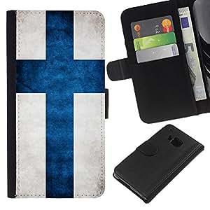 EJOY---La carpeta del tirón la caja de cuero de alta calidad de la PU Caso protector / HTC One M7 / --Nacional bandera de la nación País Finlandia