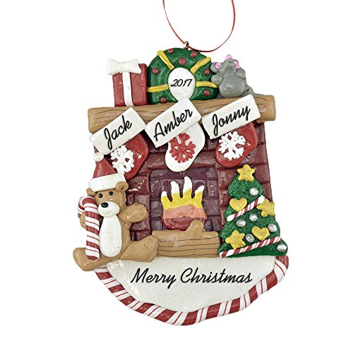"Fireplace Mantle with Stockings to Personalize Christmas Ornament (Family of 3) - Calliope Designs - 5.5"" Tall - Free Customization"