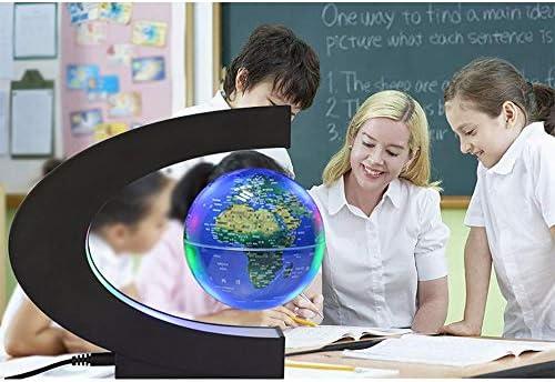 Anti-zwaartekracht zwevende wereldbol C-vormdecoratie Magnetische levitatie zwevende wereldbol Wereldkaart met LED-licht voor bureaudecoratie, kindergeschenken