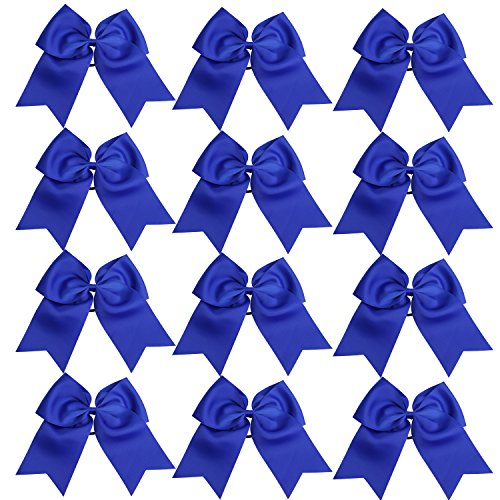 8 Inch Jumbo Cheerleader Bows Ponytail Holder Cheerleading Bows Hair Tie More Colors Available (Royal Blue)]()