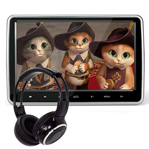 10.1 Inch HD Digital Multimedia Monitor Super-thin Car Headrest Dvd Player With Ir headphone and HDMI Port and Remote Control USB And SD (Renewed)