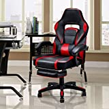 Giantex Gaming Chair Racing Chair Ergonomic High-Back with Footrest and Lumbar Support Adjusting Swivel Executive Office Desk Gaming Chair (Red)