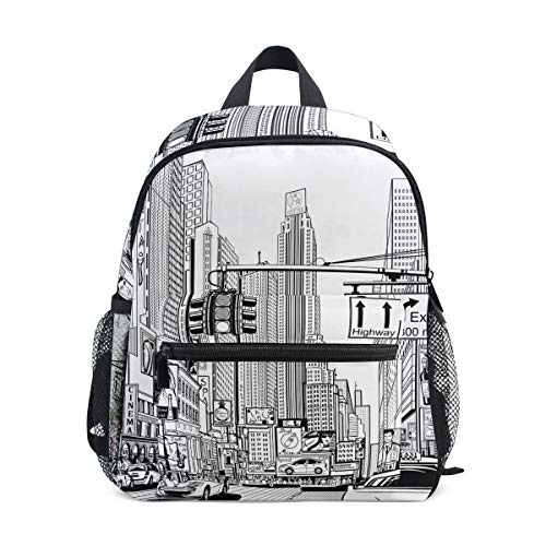 FAJRO City Street Sketching School Bag for Girls School Pack