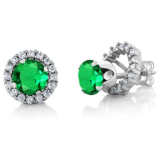 Gem Stone King 1.54 Ct Round 6mm Green Nano Emerald 925 Silver Removable Jacket Stud - Jacket Womens Emerald