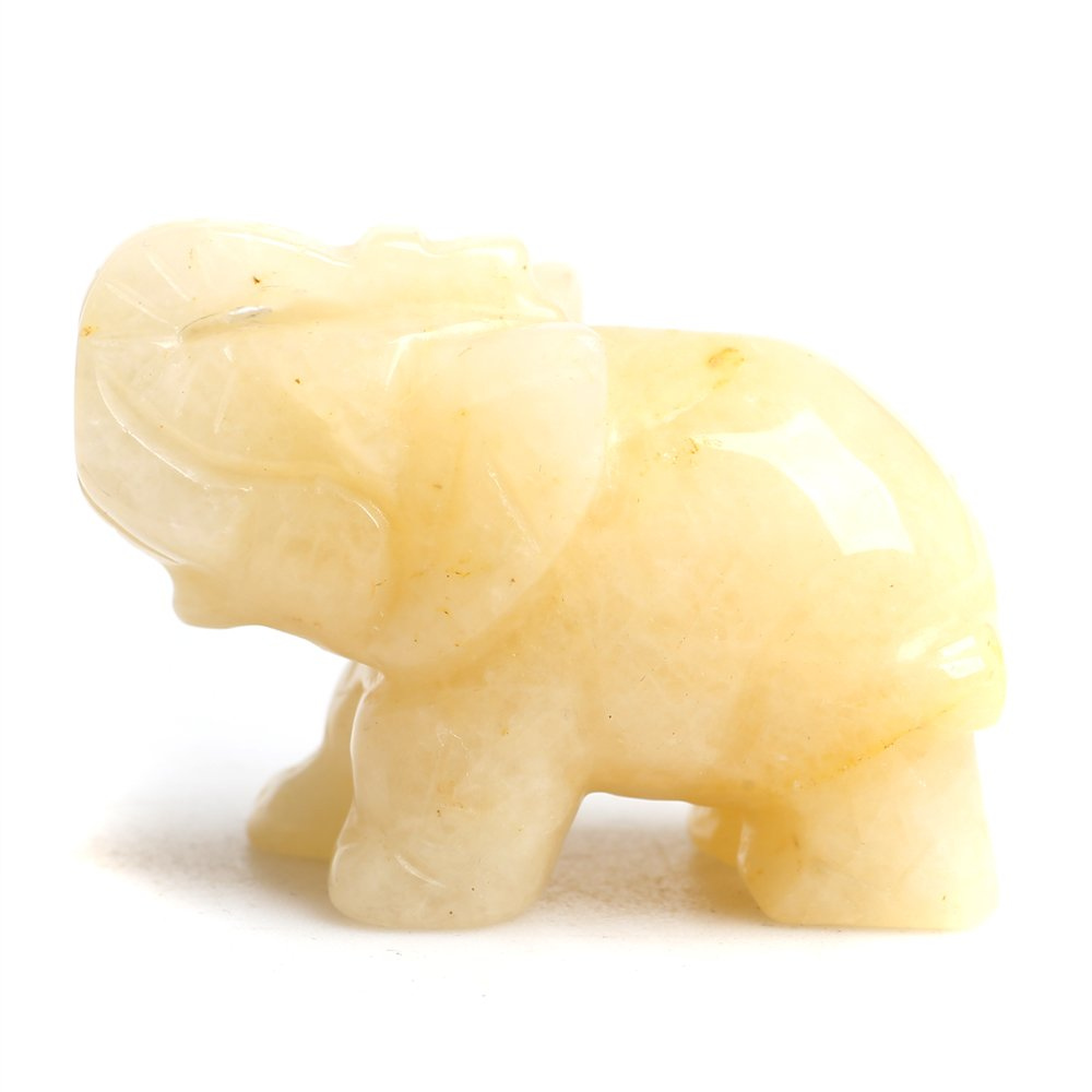 Natural Crystal Crafts Topaz Elephant Holiday Figurines Home Décor Accents Wholesale Ruhong