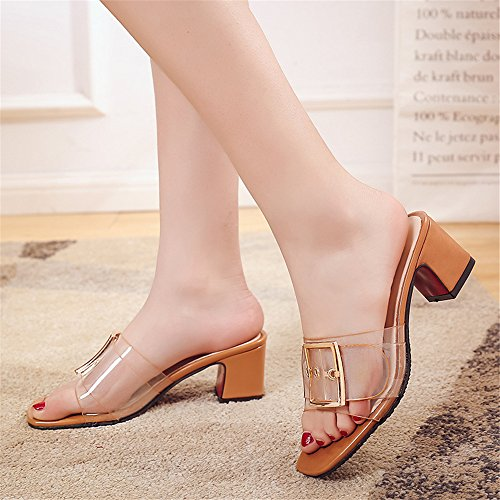 Summer Brown Women Design Dress Open Slipper Toe On Sandal Shoes Crude Heeled Casual for BY0NE Slip Slide wdqapwg