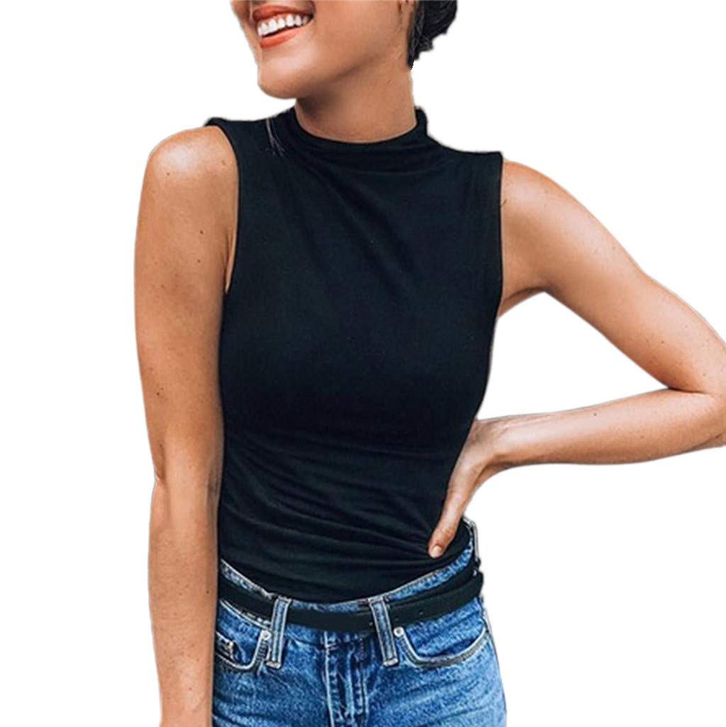 Keliay Cute Womens Tops Summer,Women Sleeveless Turtleneck Solid Casual Blouse Top T Shirt Plus Size Black