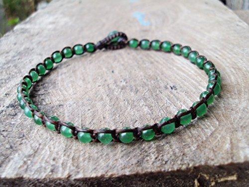 4mm jade stone anklets,stone anklets,men anklets,women - Anklet Jade