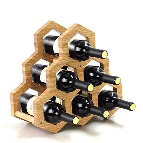 (LANDY Natural Bamboo Wine Rack, Wine Holder Display Shelves, Perfect for Bar, Wine Cellar, Basement, Cabinet, Pantry, Dining Room (B_Type))