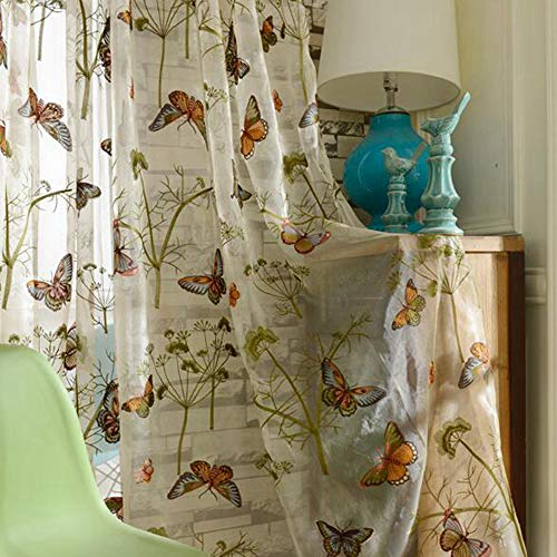 Butterfly Leaf Top - WINYY Exquisite Embroidery Butterfly Curtain Drape for Bedroom & Sliding Door Leaf Sheer Curtain Rod Pocket Top Window Tulle 1 Piece (52