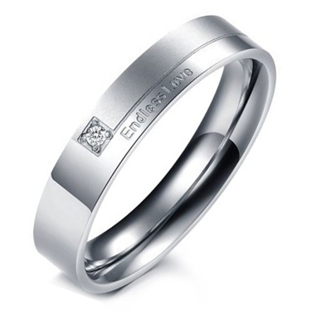 Flongo Hers Stainless Steel Endless Love Wedding Engagement Promise Band Anniversary Proposal Ring, Size 6