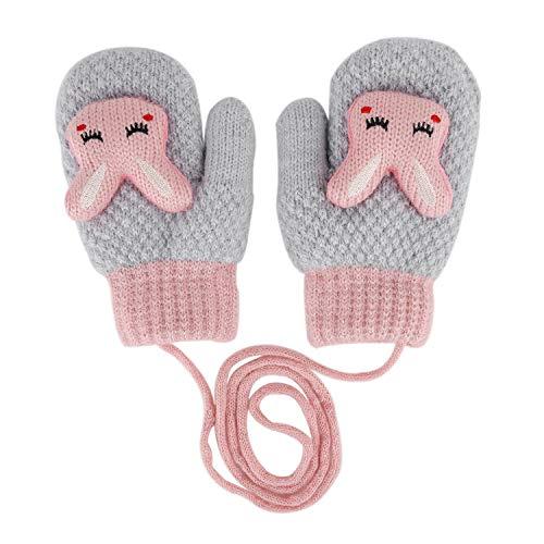 (Toddler Mittens Kids Cute Soft Knitting Mittens on String Cartoon Warm Gloves Mitts Baby Children Winter Full Finger Gloves Magic Snow Ski Mittens Gloves Hand Warmer Xmas Gifts)
