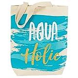 Mud Pie Women's Fashion Life's A Beach Canvas Tote (Aqua Holic (Blue))