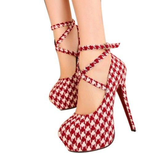 Zicac - Moda nuevo Zapatos con tacon alto para mujer Tacon plataforma (39, Rojo y blanco)