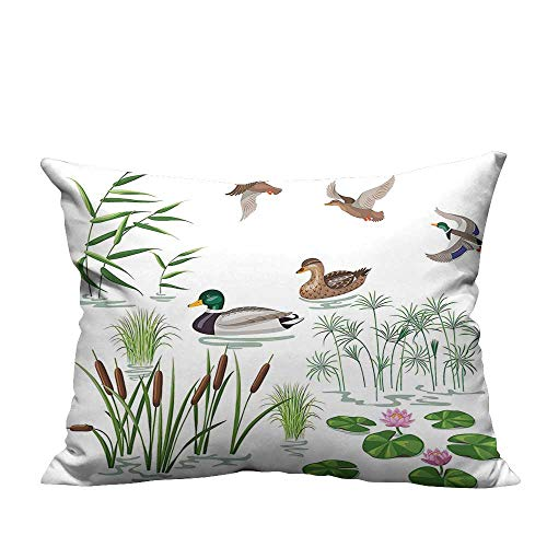 YouXianHome Print Bed Pillowcases Animals and Plants with Lily Flowers Reeds and Cane in The Pond Nature Washable and Hypoallergenic(Double-Sided Printing) 19.5x54 inch