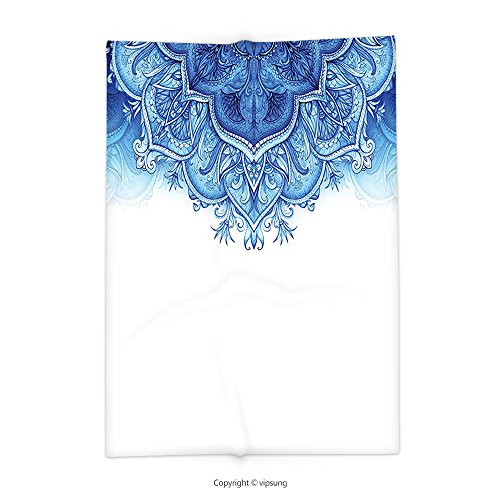 Custom printed Throw Blanket with Moroccan Decor Collection Floral Artwork Vintage Islamic Architectural Decorative Elements Oriental Pattern Print Blue White Super soft and Cozy Fleece Blanket by vipsung