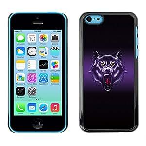 Qstar Arte & diseño plástico duro Fundas Cover Cubre Hard Case Cover para Apple iPhone 5C ( Wolf Roar Art Drawing Portrait Purple Glow)