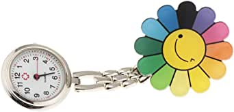 FITYLE Nurse Fob Watch Flower Strawberry Shape Clip Fob Pocket Quartz Watch