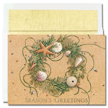Masterpiece Warmest Wishes 18-Count Christmas Cards, Beach Wreath ()