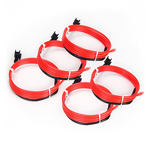5Pack Neon Light EL Wire High Bright Glowing for Burning Man Halloween Christmas Party DIY Costumes Decoration (NO Battery Controller)-1m (Red)