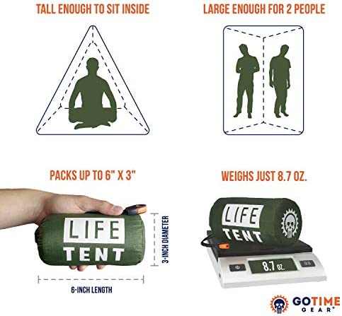 Go Time Gear Life Tent Emergency Survival Shelter – 2 Person Emergency Tent – Use As Survival Tent, Emergency Shelter, Tube Tent, Survival Tarp - Includes Survival Whistle & Paracord 7