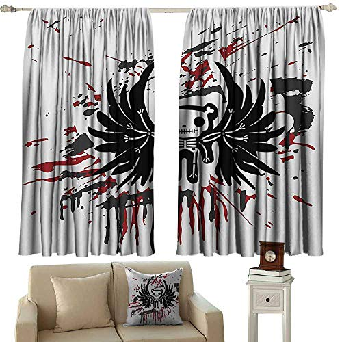 Anyangeight Adjustable Tie Up Shade Rod Pocket Curtain Halloween,Teddy Bones with Skull Face and Wings Dead Humor Funny Comic Terror Design,Pearl Black Ruby 84