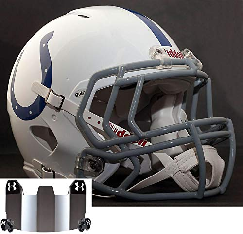 Riddell Speed Indianapolis Colts NFL Replica Football Helmet with S2EG Football Helmet Facemask/Faceguard and Mirrored Eye Shield/Visor