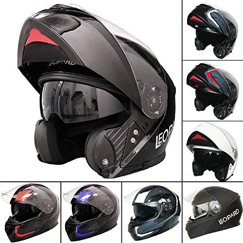 Leopard LEO-888 DVS Flip up Front Helmet Motorcycle Motorbike Helmet with DOUBLE SUN VISOR (Matt Black XL) Touch Global Ltd