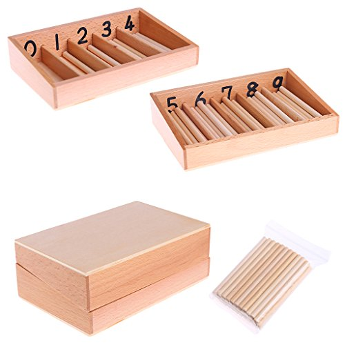 Cicitop Montessori Materials Math Toy Wooden Spindle Box 45 Spindles Mathematics Counting Educational Toy