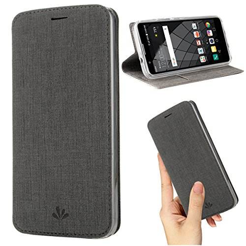 Moto G6 Play Case,Premium Flip Leather Wallet Case Stand Kickstand Card Slot Magnetic Full Body Protective Cover Clear TPU Bumper Thin Case for Motorola Moto G6 Play (Gray, Moto G6 Play)