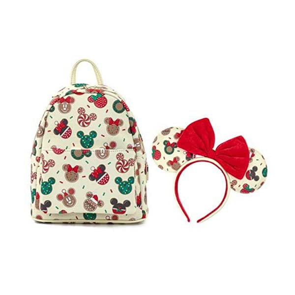 Disney Christmas Mickey and Minnie Cookie Headband and Double Strap Shoulder Bag Gift Set