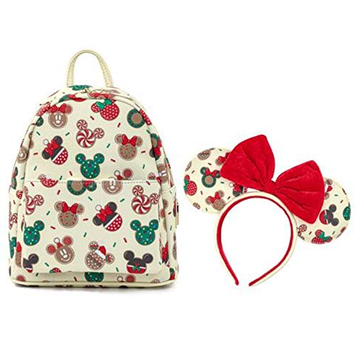 Loungefly Disney Christmas Mickey and Minnie Cookie Headband and Double Strap Shoulder Bag Gift Set, White, Standard