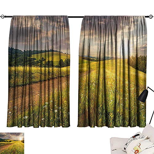 Anzhutwelve Short Blackout Drapes Nature,Sunset on The Meadow Rural Country Flower Field and Trees Idyllic Scene,Lime Green Light Brown W63 x L45 Modern Blackout Draperies for Bedroom