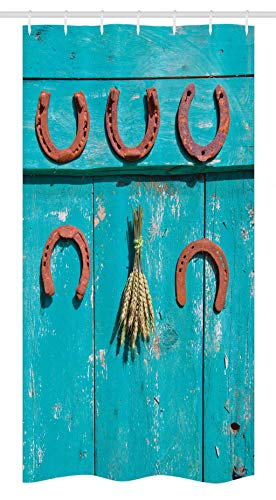 - Ambesonne Western Stall Shower Curtain, Five Antique Rusty Luck Symbol Horseshoe and Wheat Ears Bunch Picture, Fabric Bathroom Decor Set with Hooks 36 W x 72 L Inches, Turquoise and Brown