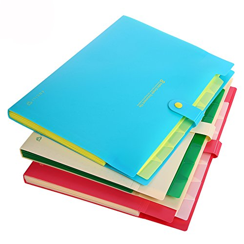 8 - Pocket File Folders, 3 - Pack Office File Bag, Letter A4 Paper Expanding Plastic Accordion Document Organizer, Test Storage Bags, Tabs and Snap Closure (Lake Blue & Melon Red & Beige)