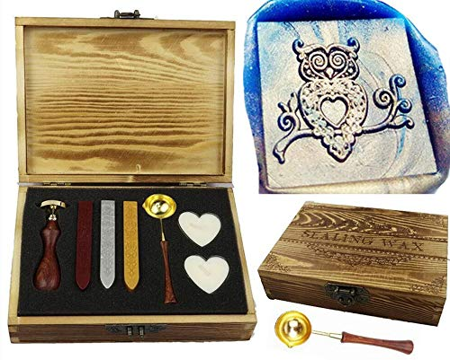 MNYR Owl Magic Square Wax Seal Stamp Wax Stick Candle Wooden Gift Box Kit Spoon Set- Ideal for Decorating Gift Packing, Envelopes, Parcels, Cards, Letetrs, Wedding Invitations and Everything Else