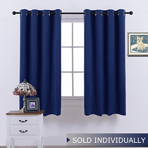 NICETOWN Navy Curtain 63 Inches Long - Home Decoration Light Blocking Room Dakening Drape/Drapery for Nursery Room, Ring Top, 52 inch wide by 63 inch long, 1 PCS