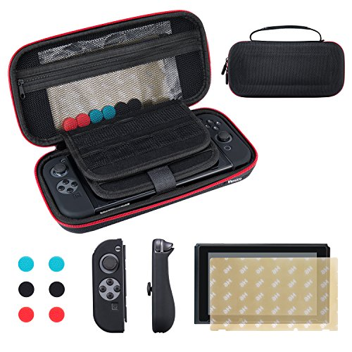 Nintendo Switch Case Vemico Premium 9H Screen Protector, Portable Starter Kits Protective Hard Travel Carry Case Shell Zip Bag Pouch with 29 Game Storage Slots for Nintendo Switch Accessories (Carry Case Protective Pouch)