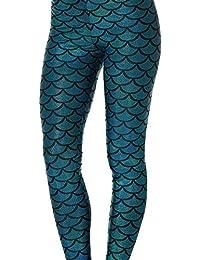 Digital Print Mermaid Fish Scale Stretch Leggings Pant...
