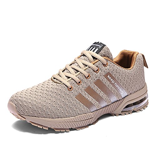 (IKENIP Men Women Running Shoes Air Trainers Fitness Casual Sports Walk Gym Jogging Athletic Sneakers Brown)