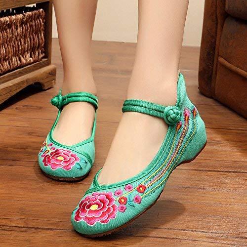 Moontang Bestickte Schuhe Schuhe Schuhe Sehnensohle Ethno-Stil weibliche Stoffschuhe Mode bequem Tanzschuhe grün 37 (Farbe   - Größe   -) d3f7b5