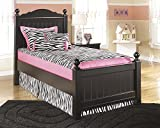 Jaidyn Youth Wood Twin Size Poster Bed in Rich Black Finish