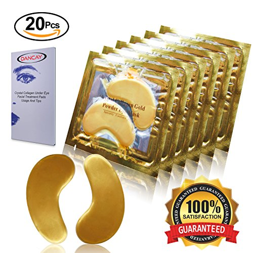Dancay 20 pairs of Crystal Collagen Under Eye Treatment Mask Pads/Patches, 24K Gold Powder Infused For Anti-Aging & Moisturizing, Reduces Dark Circles, Puffiness, Wrinkles With Pocket - Mask Lifting Treatment Anti Aging