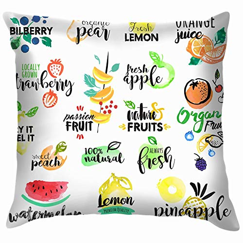 Set Hand Drawn Watercolor Labels Stickers Food and Drink Fruit Nature Soft Cotton Linen Cushion Cover Pillowcases Throw Pillow Decor Pillow Case Home Decor 16X16 Inch ()