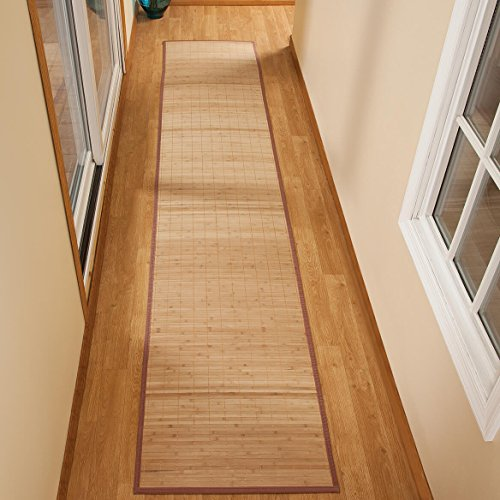 "Miles Kimball Bamboo Non-Slip Runner with Nylon Trim, 23"" x 118"" - Narrow Rubber Backed Bamboo Runner with Water Resistant Capabilities for Kitchen, Sunroom, Hallway & Entranceway"