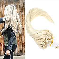 VeSunny 16inch Loop Human Hair Extensions Color #60 Platium Blonde Micro Bead Human Hair Extensions 0.5g/strand totally 100s per pack